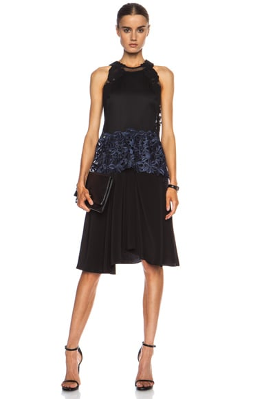 3.1 phillip lim Embroidered Lace Tank Silk Dress in Black & Navy