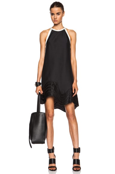 3.1 phillip lim Poly-Blend Dress with Wavy Lines Embroidered Hem in Black