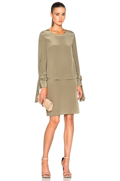 3.1 phillip lim Layered Long Sleeve Dress in Light Agave
