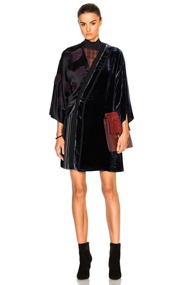 3.1 phillip lim Kimono Velvet Combo Dress in Sapphire