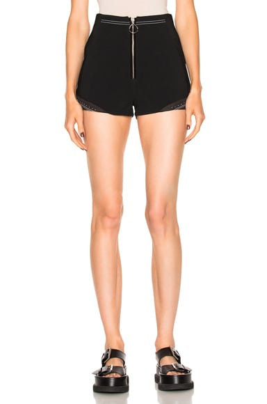 Shorts with Rib Insert and Stud Hem