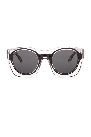 3.1 phillip lim Double Layered Sunglasses in Black & Nickel