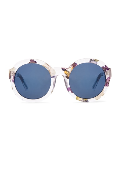 3.1 phillip lim Circle Sunglasses in Clear Blue Flowers