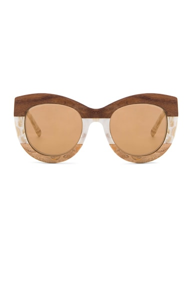 3.1 phillip lim Rounded Sunglasses in Cream Pearl & Wood