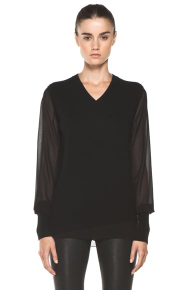 Chiffon Sleeve V Neck Sweater