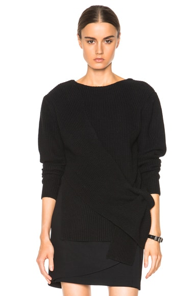 3.1 phillip lim Draped Ribbed Tie Sweater in Black