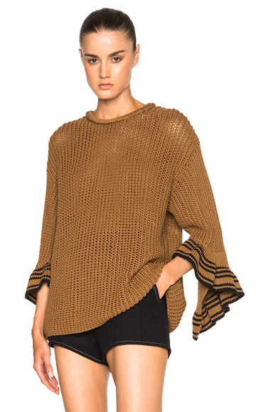 3.1 phillip lim Cascading Rib Cuff Sweater in Umber
