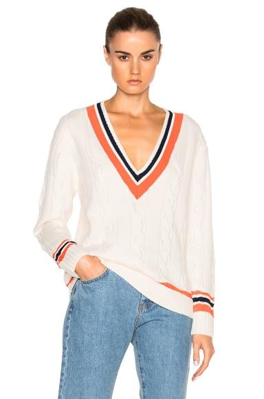 3.1 phillip lim Collegiate V-Neck Sweater in White
