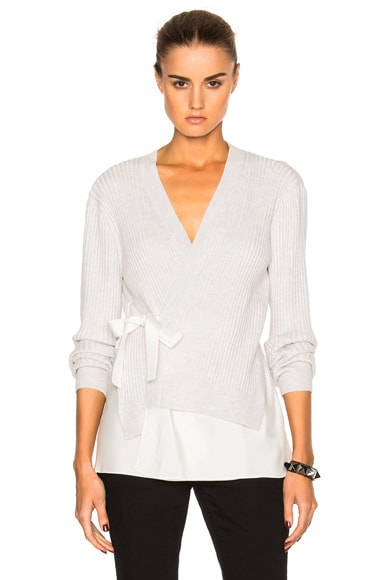 3.1 phillip lim Silk Combo Cardigan in Antique White