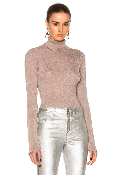 3.1 phillip lim Lurex Turtleneck Sweater in Blush
