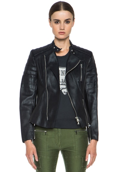 Calfskin Leather Motorcycle Peplum Jacket