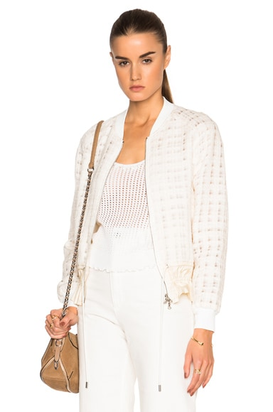 3.1 phillip lim Cinched Hem Bomber Jacket in Cream