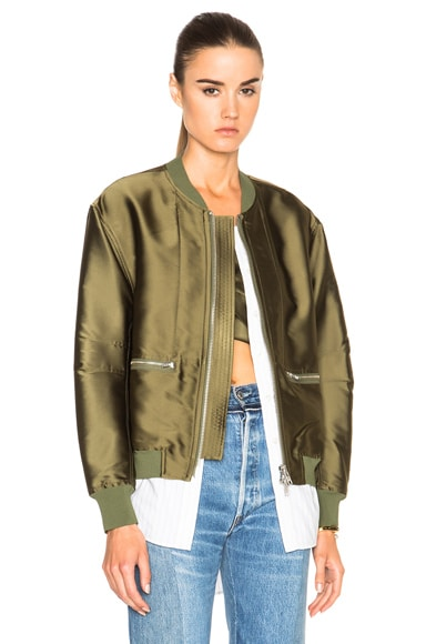 3.1 phillip lim Trompe L'oeil Underplay Bomber Jacket in Everglade