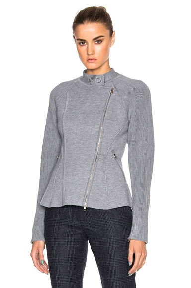 3.1 phillip lim Double Knit Moto Jacket in Melange Grey