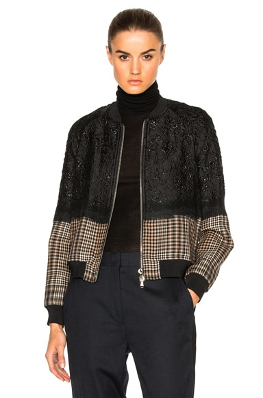 3.1 phillip lim Needle Punch Bomber Jacket in Black