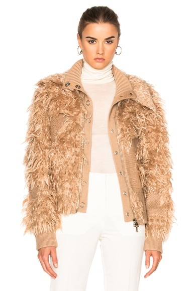 Double Collar Faux Fur Bomber Jacket
