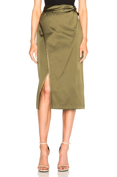 3.1 phillip lim Satin Knotted Waistband Skirt in Everglade
