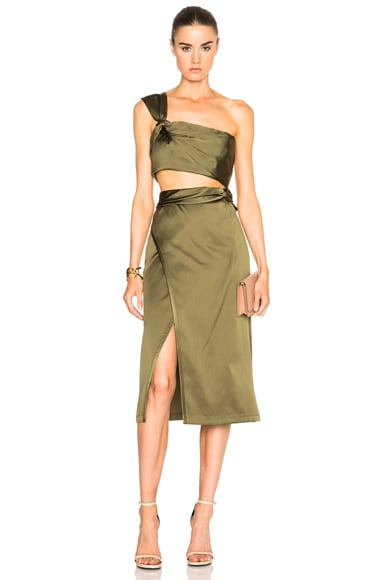 Satin Knotted Waistband Skirt