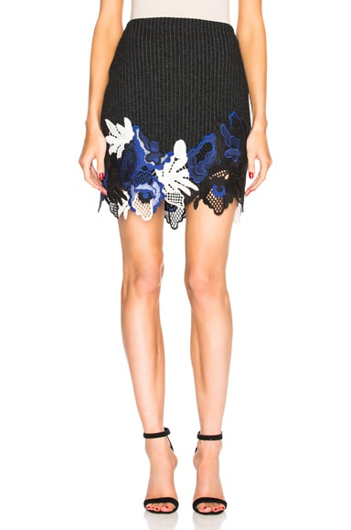 Embroidered Lace Ribbed Mini Skirt