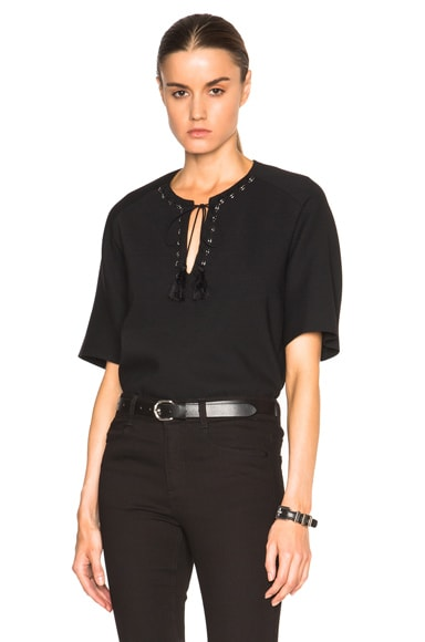 3.1 phillip lim Bohemian Metal Eyelet Top in Black