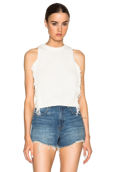 3.1 phillip lim Fringe Crop Top in Ivory