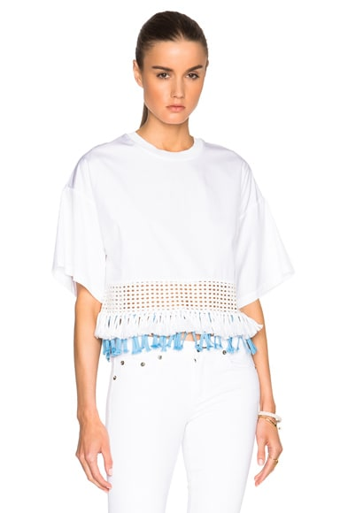 3.1 phillip lim Boxy Fringed Hem Top in White