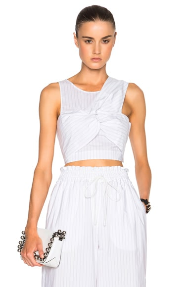 3.1 phillip lim Knot Detail Crop Top in Antique White