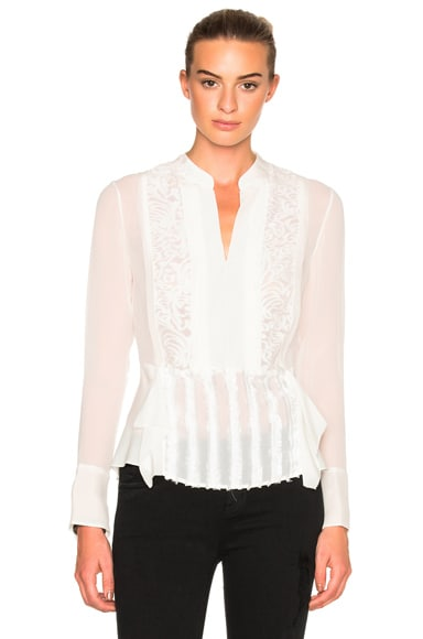 3.1 phillip lim Long Sleeve Top in Antique White