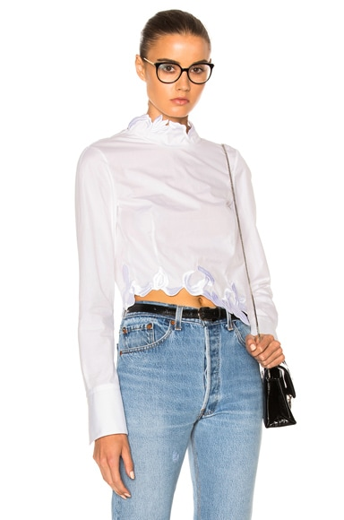 3.1 phillip lim Embroidered Crop Top in White