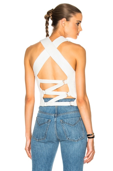 3.1 phillip lim Crochet Back Tie Tank in Antique White