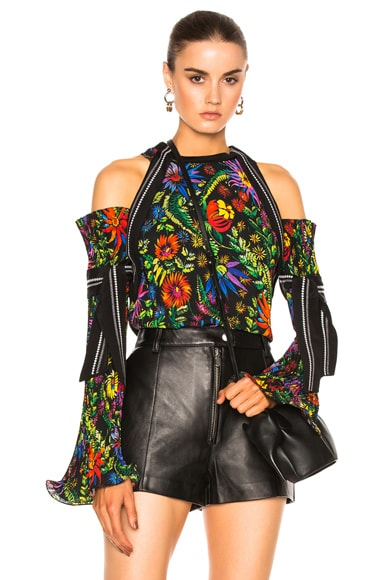 3.1 phillip lim Long Sleeve Floral Cold Shoulder Top in Black Multi