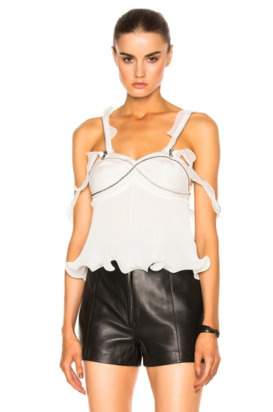 3.1 phillip lim Sleeveless Pleated Ruffle Top in Antique White
