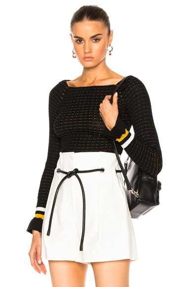 3.1 phillip lim Long Sleeve Off Shoulder Pullover in Black