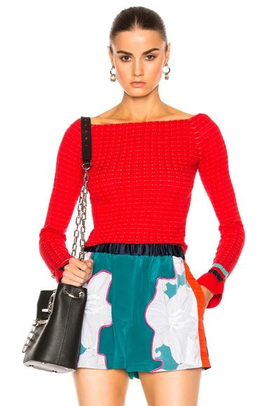 3.1 phillip lim Long Sleeve Off Shoulder Pullover in Poppy