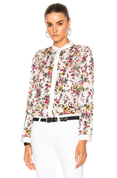 3.1 phillip lim Long Sleeve Blouse with Ruffle Detail in White Multi