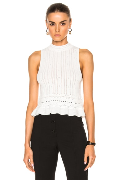 3.1 phillip lim Compact Pointelle Lace Cropped Tank in Antique White