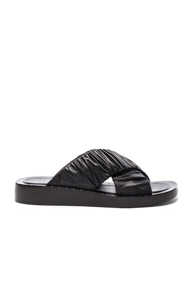 3.1 phillip lim Leather Nagano Slides in Black