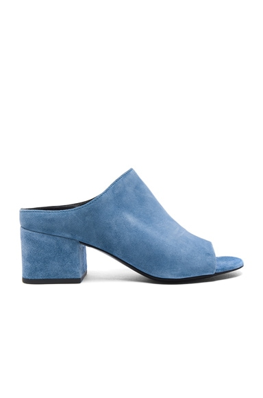 3.1 phillip lim Suede Cube Open Toe Slip Ons in French Blue