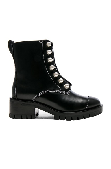 Lug Sole Zipper Leather Boots with Pearls