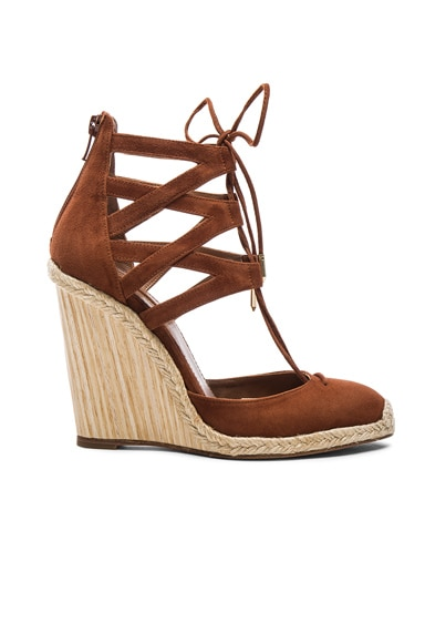 Aquazzura Suede Belgravia Wedges in Luggage