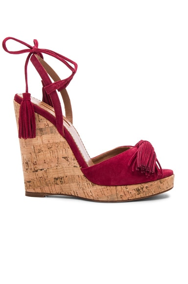 Aquazzura Suede Wild One Espadrille Wedges in Pomegranate