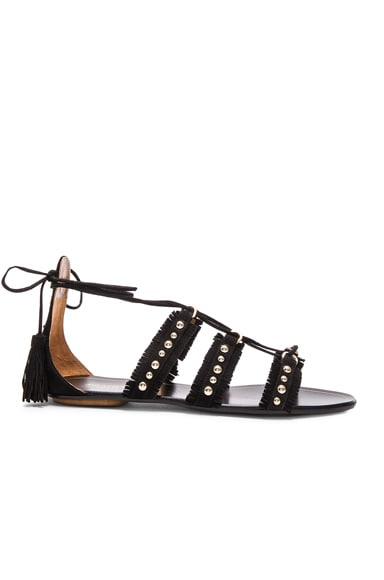 Aquazzura Suede Tulum Sandals in Black