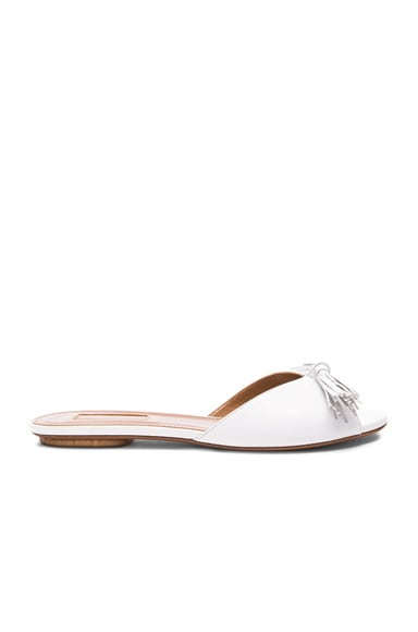 Aquazzura Leather Wild Slide Sandals in White