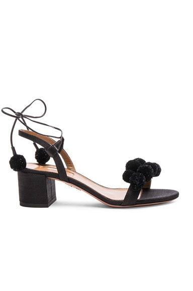 Aquazzura Pom Pom Sandals in Black