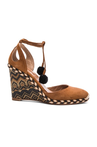 Aquazzura Suede Palm Beach Espadrille Wedges in Cognac