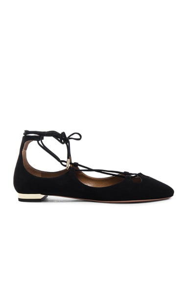 Aquazzura Dancer Suede Flats in Black
