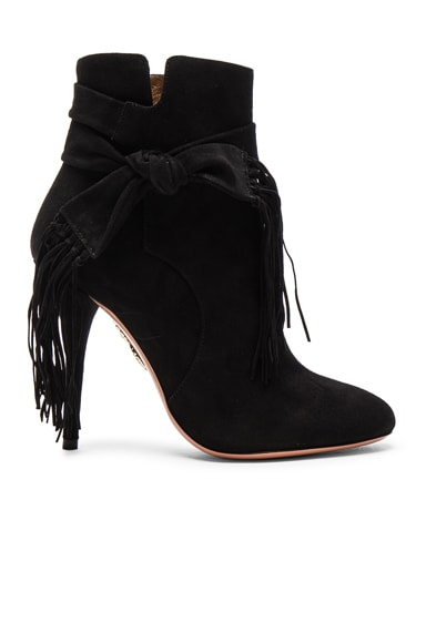 Aquazzura Suede Loren Booties in Black