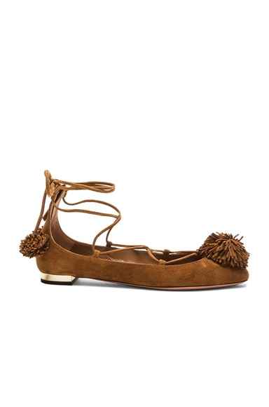 Aquazzura Sunshine Flat in Cognac
