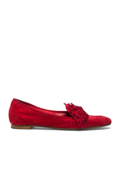 Aquazzura Suede Wild Loafer Flats in Lipstick