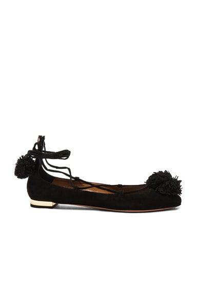 Aquazzura Suede Sunshine Flats in Black